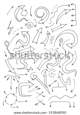 Set of doodle arrows. Hand drawn illustration. - stock vector