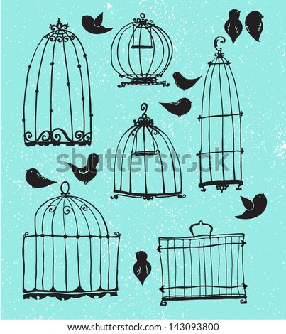 Set of doodle cages and little birds