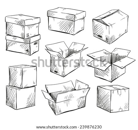 set of doodle cardboard boxes. Vector illustration.  - stock vector