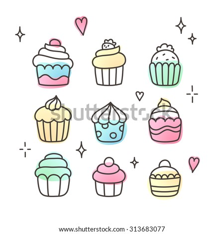 Set of doodle cartoon cupcakes. Cute hand drawn sketch, adorable cupcake collection.