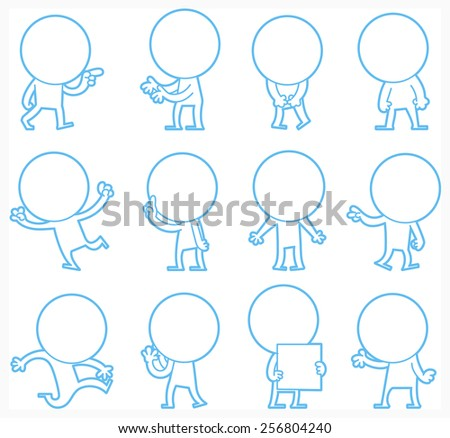 Set of doodle characters poses, illustrator vector and animation - stock vector
