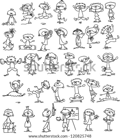 Set of doodle children - stock vector
