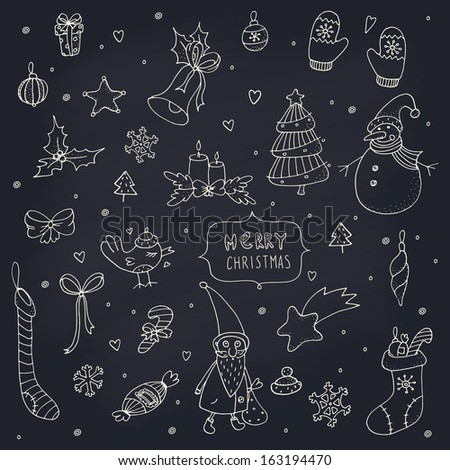 Set of doodle Christmas decorations on a chalkboard. EPS 10. Transparency. No gradients. - stock vector