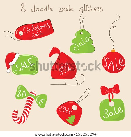 Set of doodle Christmas sale stickers and labels in vector. Red and green elements: labels, spruce, ball, candy, bag. Can be used for printed sale stickers, sale in web, magazines. - stock vector