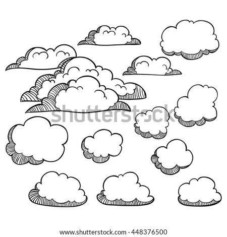 Set of doodle clouds on white background - stock vector