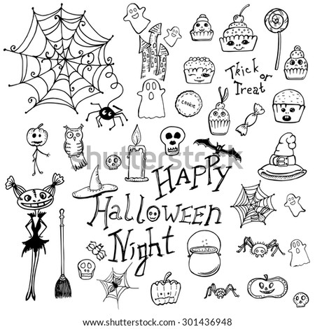 set of doodle elements for Halloween. handmade vector illustration - stock vector