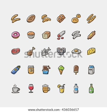 Set of doodle food and drinks icons.