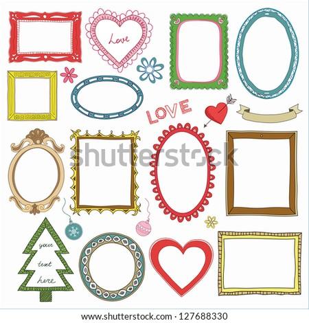 Set of doodle frames - stock vector