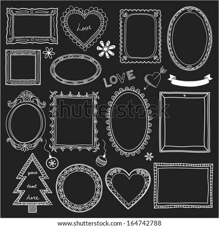 Set of doodle frames and different elements. Chalkboard style - stock vector