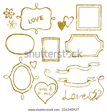 Set of doodle frames and elements made of gold glitter texture. Vector illustration.