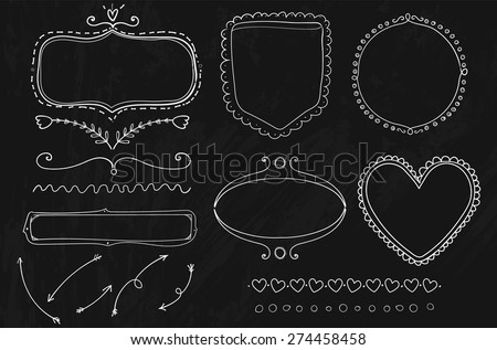Set of doodle frames, dividers and arrows hand drawn on the chalkboard. Vector design elements. - stock vector