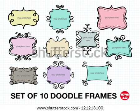 Set of 10 doodle frames. free hand vector illustration. - stock vector