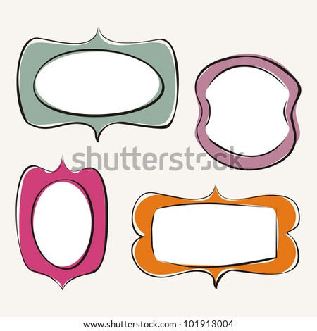 Set of doodle, hand drawn frames with white background and white empty space to put your own text or picture. Vector vintage flat design elements. - stock vector