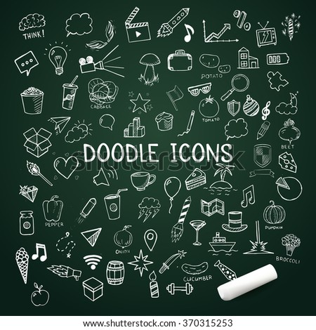 Set of doodle icons, vector hand-drawn objects, illustration on chalkboard