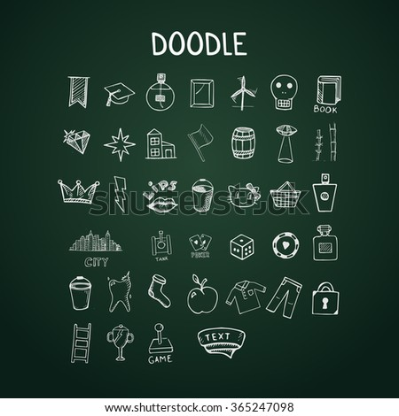 Set of doodle icons, vector hand-drawn objects on chalkboard - stock vector