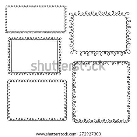 Set of doodle loop frames  - stock vector