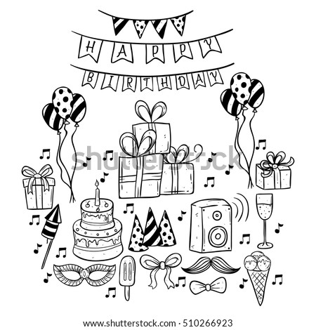 Set Of Doodle Or Hand Drawing Birthday Party Icons