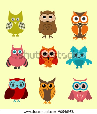 Set of doodle owls for funny decoration. Jpeg version also available in gallery - stock vector