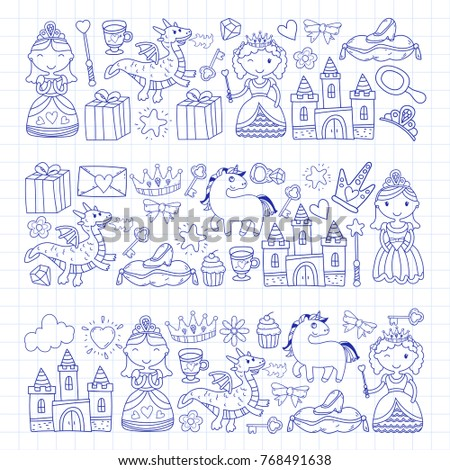 Set of doodle princess and fantasy icon and and design element for invitation and greeting card. Kids drawing. Kindergarten, preschool, school pattern