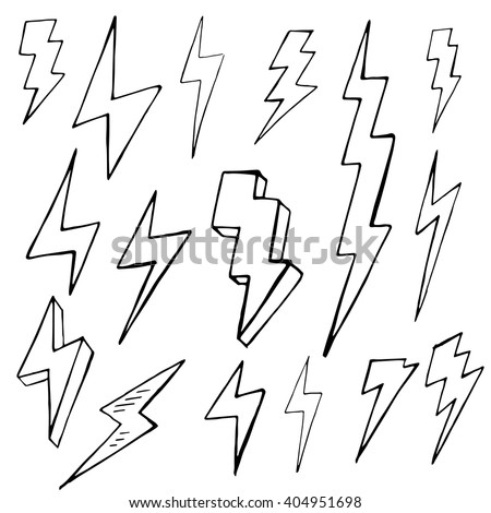 Set of doodle simple lightning, group of hand drawn objects