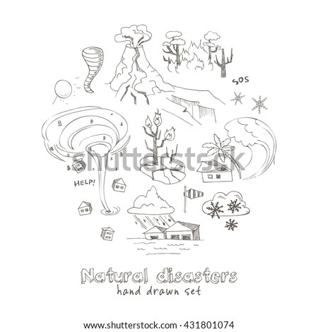 Set of doodle sketch Natural disasters earthquake tsunami volcanic tornado and other cataclysm. Isolated vector illustration - stock vector