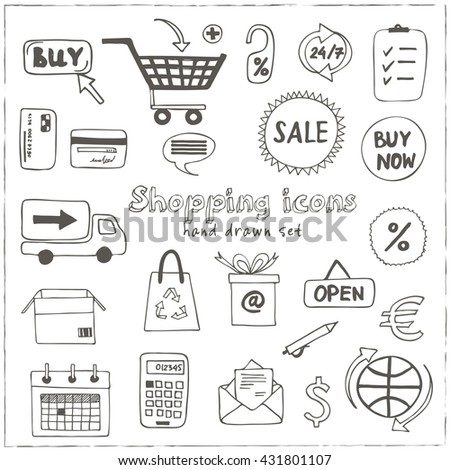 Set of doodle sketch shopping icons with plastic card money bags tags shopping carts basket bags bank credit card wallets money delivery store gift box calculator isolated vector illustration