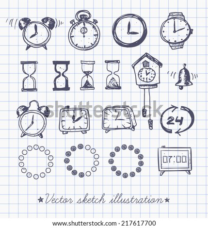 Set of doodle sketch watches. Alarm clocks, sand glasses, stop-watch and other symbols of time. Hand-drawn with ink. Vector illustration. - stock vector