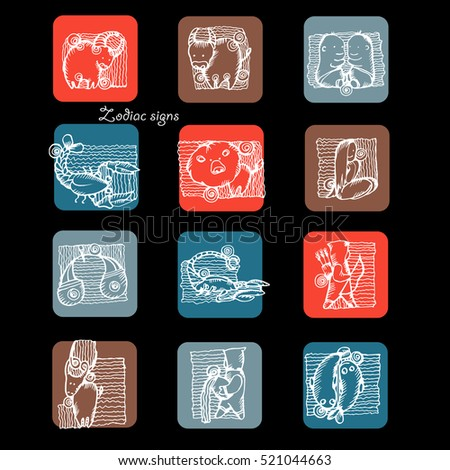 Set of doodle style zodiac signs. Funny Horoscope. Vector hand drawing illustration of sketch style. Zodiacs logo.