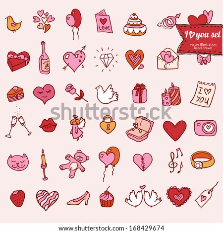 Set of doodle Valentine's icon in color, include hand drawn design element: heart, ring, diamond, wings, present, cake, camera, toy, candle, wine, angel, rose, bird, lips, music, message - stock vector