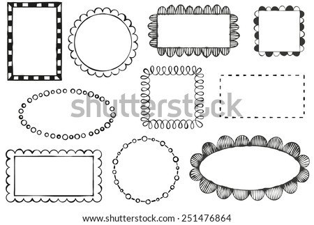 Set of doodle vector frames - stock vector