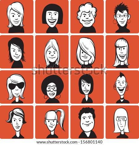Set of doodle woman cartoon faces - stock vector