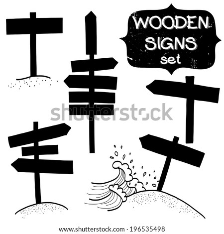 Set of doodle wooden signs, signboard and direction arrows. Collection of various road signs silhouettes on white background. - stock vector