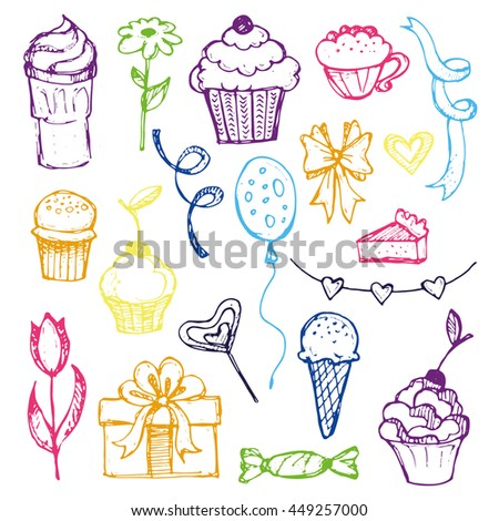 Set of doodles birthday design elements. Hand drawn  balloons, gift boxes, party blowouts, cakes and candies,  and other objects. Vector illustration