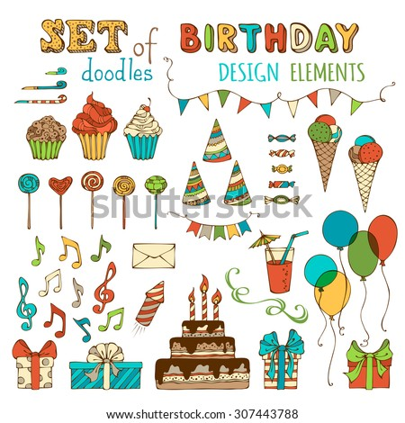 Set of doodles birthday design elements. Hand-drawn garlands and balloons, music notes, gift boxes, party blowouts, cakes and candies, birthday pie, party hats and other objects. - stock vector