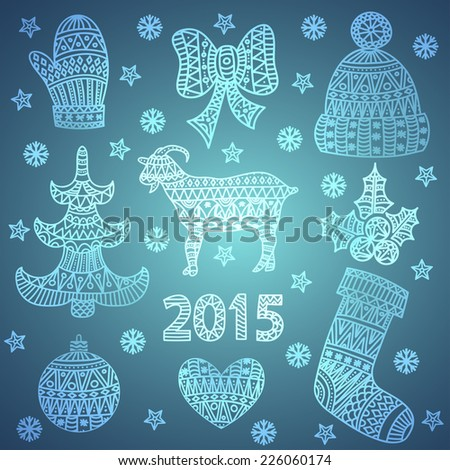 Set of doodles element for Christmas design (hand draw ornament) - stock vector