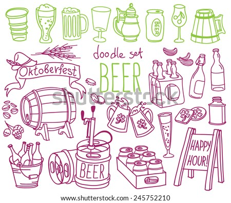 Set of doodles, hand drawn rough simple beer and brewery theme sketches, various kinds of beer. Vector isolated on white background for cafe menu, fliers, chalkboard - stock vector