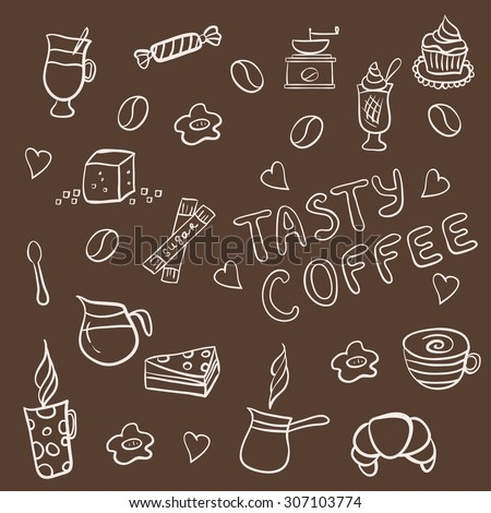 Set of doodles, hand drawn rough simple coffee theme sketches, various kinds of coffee, ingredients and devices for coffee making with tasty cakes and candies. Vector isolated on brown background for