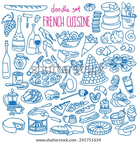 Set of doodles, hand drawn rough simple French cuisine food sketches. Different kinds of main dishes, desserts, beverages. Vector set isolated on white background for cafe menu, fliers, chalkboard - stock vector