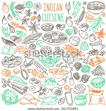 Set Of Doodles Hand Drawn Rough Simple Indian Cuisine Food Sketches Different Kinds
