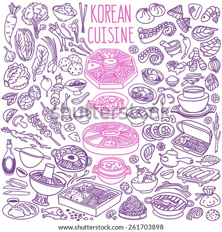 Set of doodles, hand drawn rough simple Korean cuisine food sketches. Different kinds of main dishes, desserts, beverages. Vector set isolated on white background for cafe menu, fliers, chalkboards - stock vector
