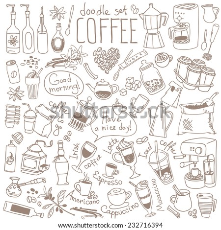 Set of doodles, hand drawn rough simple sketches, various kinds of coffee, ingredients and devices for coffee making. Vector isolated on white background for cafe menu, fliers, chalkboard - stock vector