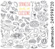 Set of doodles, hand drawn rough simple Spanish cuisine food sketches. Different kinds of main dishes, desserts, beverages. Vector set isolated on white background for cafe menu, fliers, chalkboard - stock photo