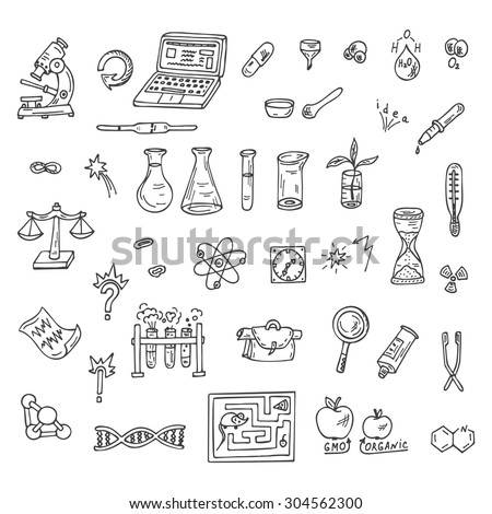 Set of Doodles Science icons - stock vector