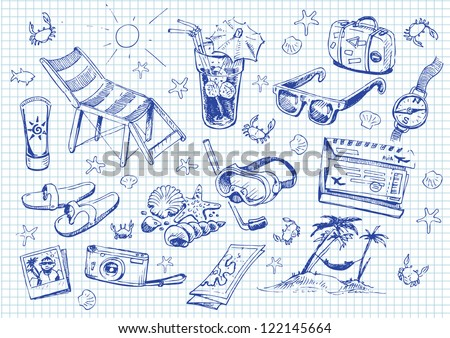 Set of doodles. vacation - stock vector