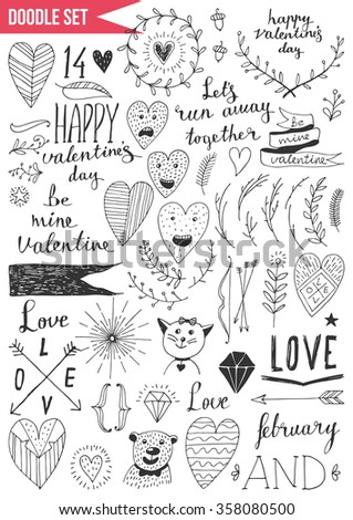 Set of doodles - Valentine's Day - stock vector