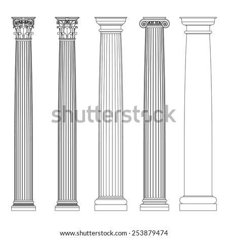 Set of Doric, Ionic and Corinthian Columns. Classic columns  in Greek Ancient style - stock vector