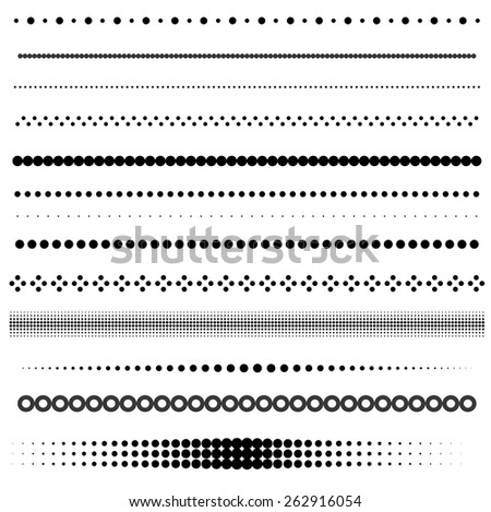 Set of dot and halftone dividers - stock vector