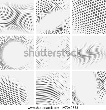 Set of dotted abstract forms - stock vector