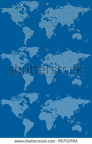 Set of Dotted (Circular Pixel) World Maps. Vector Illustration