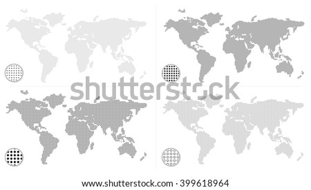 Set of dotted world maps